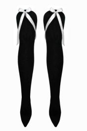 Black OTK Socks with White Bow( 12 Pairs)
