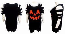Halloween Black Pumpkin Cut Shoulder Long-line T Shirt