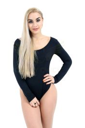 Round Neck Long Sleeve Viscose Black Leotard