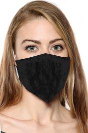 Black Skeleton Print Face Mask With Filter Pocket