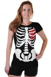 Black Skeleton W Bloody Heart Printed T-Shirt