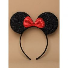 Black Sparkly Mouse Ears Aliceband With Red Sequin Bow