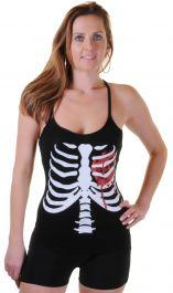 Black Skeleton W Bloody Heart Printed Vest Top