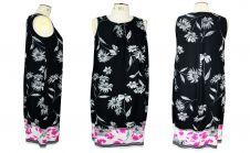 Black Trim Neck Maxi  Floral Dress