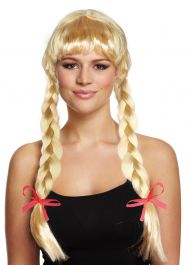 Blonde Long Wig With Plaits & Red Bows 180g