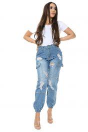 Blue Boyfriend Cargo Jeans