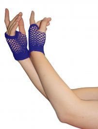 Blue Fingerless Short Fishnet Gloves
