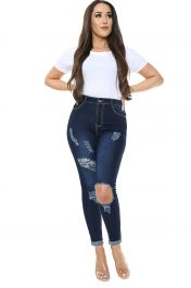Blue High waisted Ripped Jeans