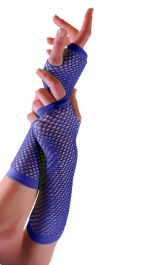 Blue Long Fishnet Gloves (Dozen)