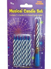 Blue Musical Candle Set