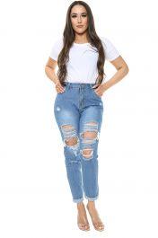 Blue Ripped Boyfriend Jeans
