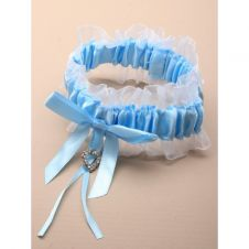 Blue Satin Ribbon with White Net Garter