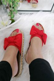 Bow Detail Suede Slider Red