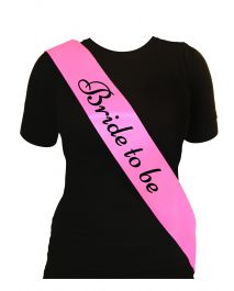 Bride To Be Sash Pink W/black Text