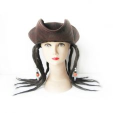Brown Pirate Hat with Dreadlocks