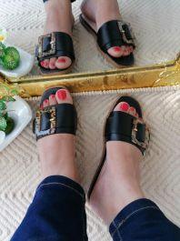 Buckle Detail Sliders Black