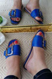 Buckle Detail Sliders Blue