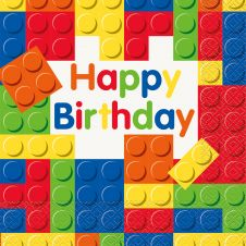 Building Blocks Birthday Lunch Napkin