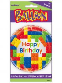 Building Blocks Happy Birthday 18-Inch Foil Balloon