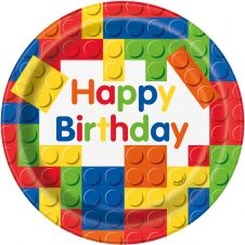 Building Blocks Happy Birthday 9-Inch Paper Plates (Pack of 8)