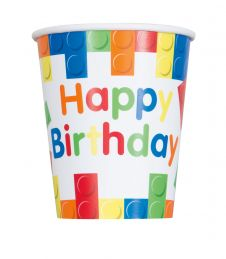 Building Blocks Happy Birthday 9oz Paper Cups (Pack of 8)