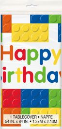 Building Blocks Happy Birthday Plastic Table Cover