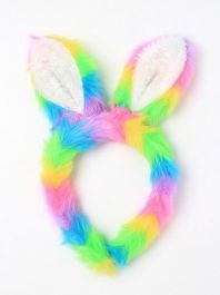 Bunny Rabbit Ears Rainbow Faux Fur Fabric Aliceband