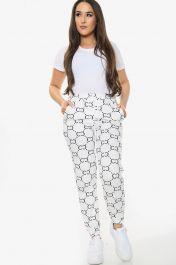 CC Chain Print Tie Waist Joggers (White)