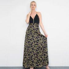 Chain Printed Black Maxi Dress