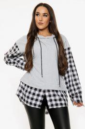 Check Print Long Sleeved Hoodie (Grey)