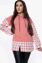 Check Print Long Sleeved Hoodie (Pink)