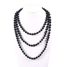 Children Black Plastic Bead Necklaces (Approx 48 Inches)