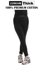Children Black Thick Cotton Leggings Full Length (220-GSM)
