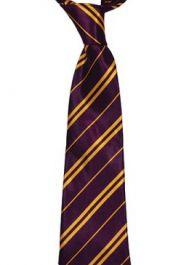 Children Maroon & Yellow Striped Neck Tie 9cm Wide
