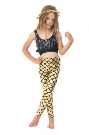 Children Metallic Fish Scale Mermaid Gold Leggings