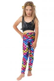 Children Metallic Fish Scale Mermaid Multi Colour Leggings