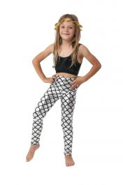 Children Metallic Fish Scale Mermaid Silver Leggings