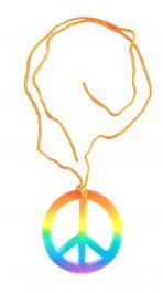 Children Peace Sign Hippie Necklace Rainbow
