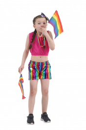 Children Shiny Metallic Rainbow Hot Pants