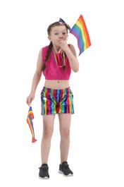 Children Shiny Metallic Rainbow Hot Pants
