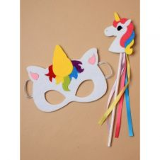 Children's felt unicorn mask with felt unicorn wand.