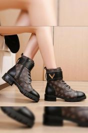Chique Logo Lace Up Boot Brown