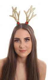 Christmas gold glitter reindeer antlers with holly motif.