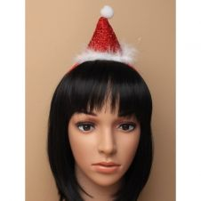 Christmas metallic red Santa hat on an aliceband with white fur trim and pom pom.