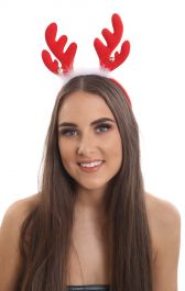 Christmas red Reindeer antlers aliceband with silver bells and white fur trim.