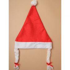 Christmas Red Santa Hat With Plaits