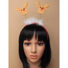 Christmas Reindeer motif deeley bopper headband with white fur trim