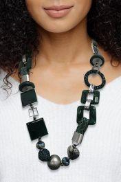 Chunky Circles Beaded Tassel Necklace Dark Green