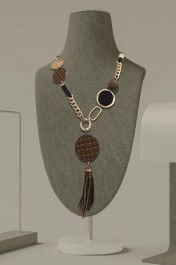 Chunky Disc Beaded Tassel Necklace Brown