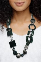 Chunky Square Beads Necklace Dark Green